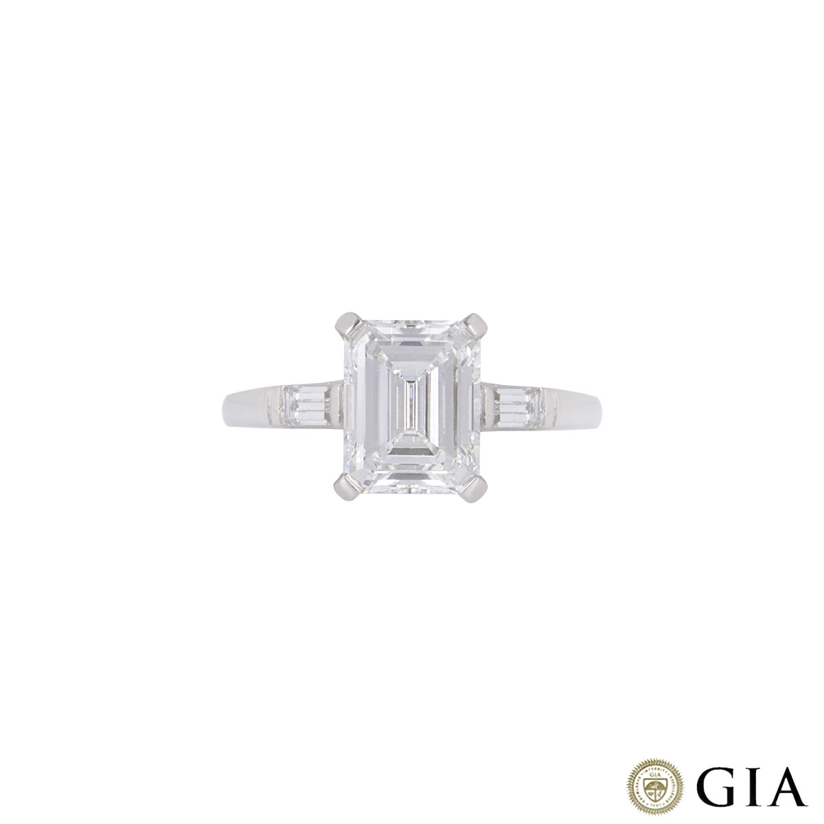 Platinum Emerald Cut Diamond Ring 1.92ct F/VVS2